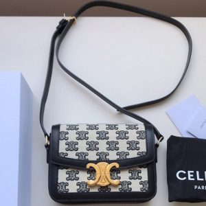 Replica Celine 191242 Medium Triomphe bag in Textile with triomphe embroidery and calfskin Black