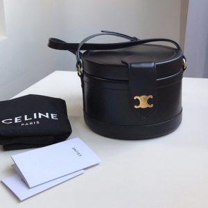 Replica Celine 195193 medium tambour bag in Black smooth calfskin