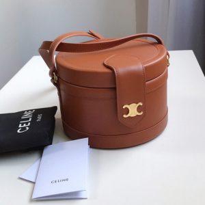 Replica Celine 195193 medium tambour bag in Tan smooth calfskin