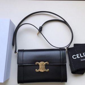 Replica Celine 195263 Strap bag triomphe in Black natural calfskin
