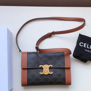 Replica Celine 195263 Strap bag triomphe in Canvas Black natural calfskin