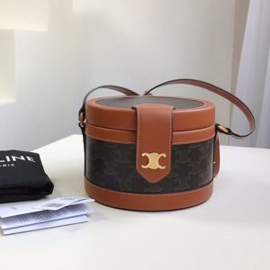 Replica Celine 195642 small tambour bag in triomphe canvas With Tan CALFSKIN
