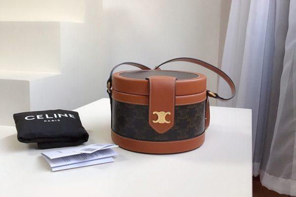 Replica Celine 195642 small tambour bag in triomphe canvas With Tan CALFSKIN