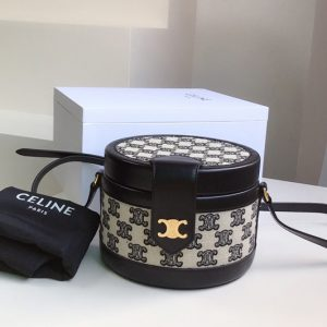 Replica Celine 195642 small tambour bag in textile with triomphe embroidery Black