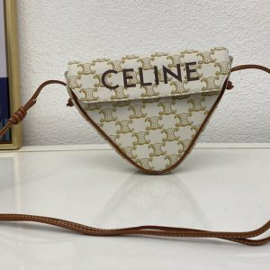 Replica Celine 195902 triangle bag in White triomphe canvas and calfskin