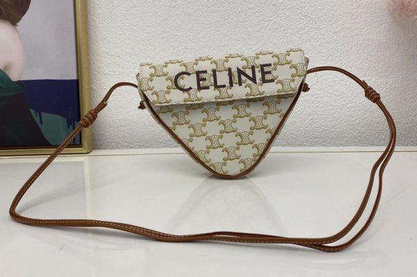 Replica Celine 195902 triangle bag in White triomphe canvas and calfskin