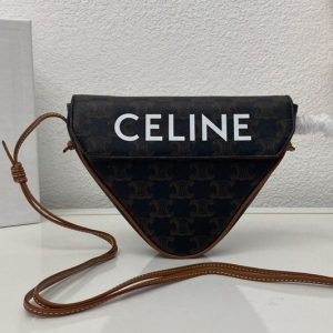 Replica Celine 195902 triangle bag in Brown triomphe canvas and calfskin