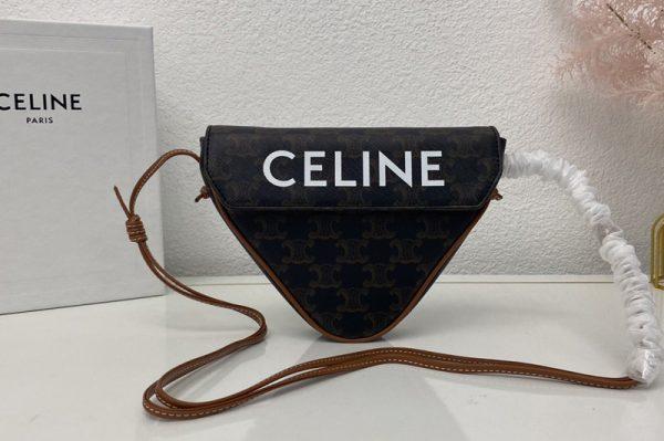 Replica Celine 195902 triangle bag in Brown triomphe canvas and calfskin