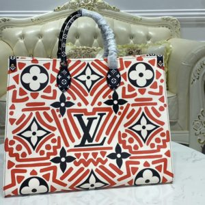 Replica Louis Vuitton M45358 LV Crafty Onthego GM tote bag in Cream and Red Monogram Giant coated canvas