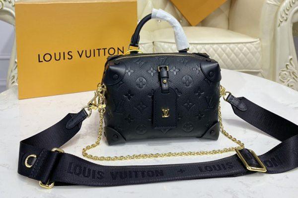 Replica Louis Vuitton M45393 LV Petite Malle Souple handbag in Black Embossed grained cowhide leather