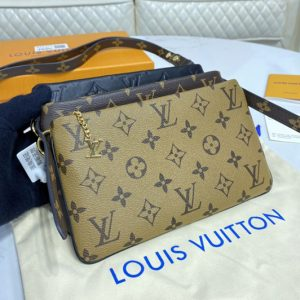 Replica Louis Vuitton M45412 LV LV3 Pouch in Lambskin, Monogram and Monogram Reverse coated canvas