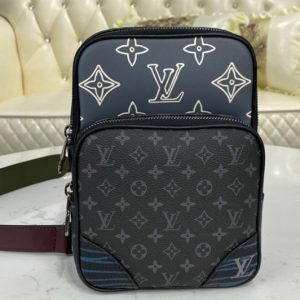 Replica Louis Vuitton M45439 LV Amazone Sling Bag in Monogram Eclipse coated canvas and cowhide leather