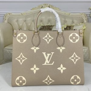 Replica Louis Vuitton M45494 LV OnTheGo MM Tote bag in Tourterelle Gray/Cream Embossed grained cowhide leather