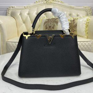 Replica Louis Vuitton M54663 LV Capucines PM bag in Monogram Pastel Noir coated canvas