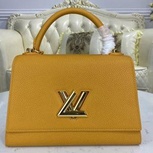 Replica Louis Vuitton M57092 LV Twist One Handle handbag in Saffron Taurillon leather