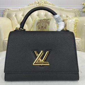 Replica Louis Vuitton M57090 LV Twist One Handle handbag in Black Taurillon leather