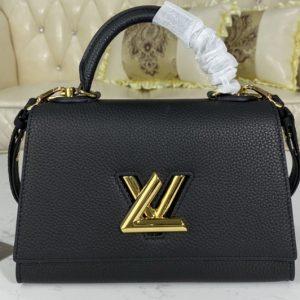 Replica Louis Vuitton M57093 LV Twist One Handle PM handbag in Black Taurillon leather