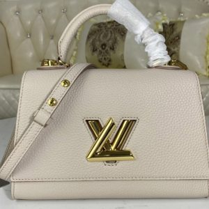 Replica Louis Vuitton M57214 LV Twist One Handle PM handbag in Greige Taurillon leather