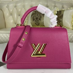 Replica Louis Vuitton M57096 LV Twist One Handle PM handbag in Orchidée Pink Taurillon leather