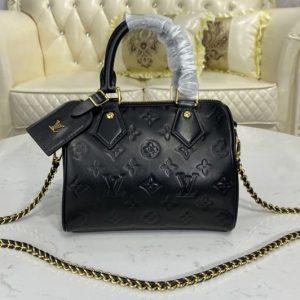 Replica Louis Vuitton M57111 LV Speedy BB handbag in Black Lambskin embossed leather