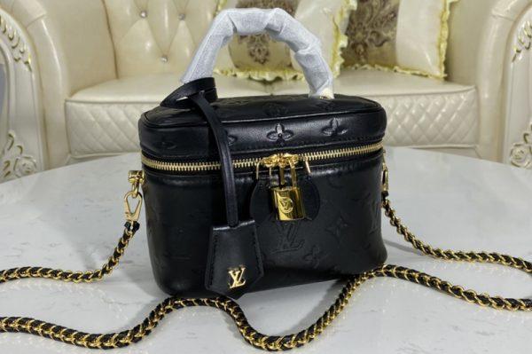 Replica Louis Vuitton M57118 LV Vanity PM handbag in Black Lambskin embossed leather