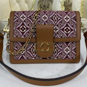 Replica Louis Vuitton M57211 LV Since 1854 Dauphine MM handbag in Bordeaux Red Jacquard Since 1854 textile