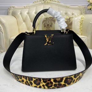 Replica Louis Vuitton M57215 LV Capucines BB handbag in Black Taurillon leather