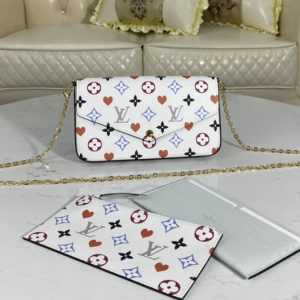 Replica Louis Vuitton M80232 LV Game On Félicie Pochette Bag in White Transformed Game On canvas