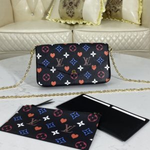 Replica Louis Vuitton M80232 LV Game On Félicie Pochette Bag in Black Transformed Game On canvas