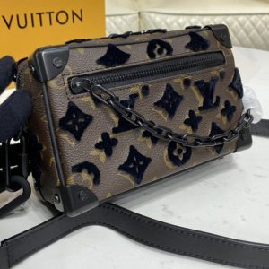 Replica Louis Vuitton M67841 LV Mini Soft Trunk Bag on Embroidered Monogram Tuffetage Noir coated canvas