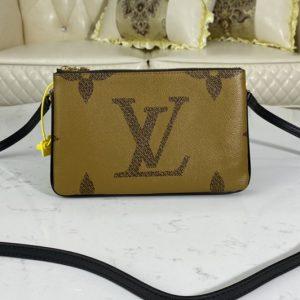 Replica Louis Vuitton M69203 LV Double Zip Pochette on Monogram Giant Reverse and Monogram coated canvas
