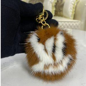 Replica Louis Vuitton M69563 LV Fur bag charm and key holder on Brown