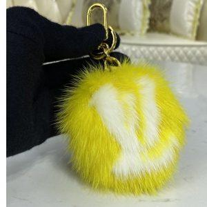 Replica Louis Vuitton M69563 LV Fur bag charm and key holder on Yellow