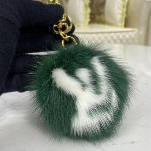 Replica Louis Vuitton M69563 LV Fur bag charm and key holder on Green