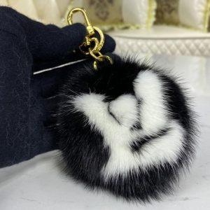 Replica Louis Vuitton M69563 LV Fur bag charm and key holder on Black