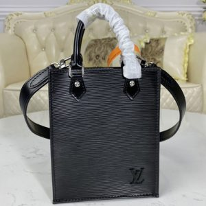 Replica Louis Vuitton M69441 LV Petit Sac Plat bag in Black Epi leather