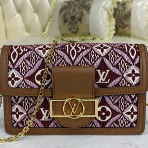 Replica Louis Vuitton M69992 LV Since 1854 Dauphine Chain Wallet bag in Bordeaux Jacquard Since 1854 textile