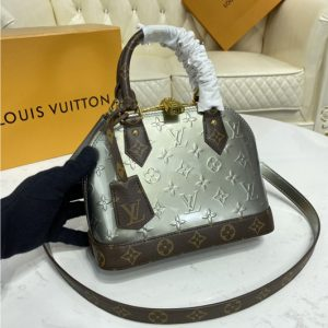 Replica Louis Vuitton M90584 LV Alma BB handbag in Metallic Taupe Grey Monogram Vernis patent cowhide leather