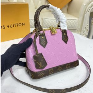Replica Louis Vuitton M90583 LV Alma BB handbag in Metallic Pale Pink Monogram Vernis patent cowhide leather