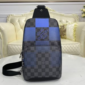 Replica Louis Vuitton N40404 LV Avenue Sling Bag in Blue Damier Graphite Giant coated canvas