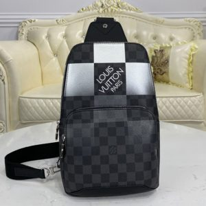 Replica Louis Vuitton N40403 LV Avenue Sling Bag in White Damier Graphite Giant coated canvas