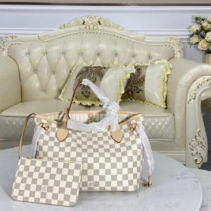Replica Louis Vuitton N41362 LV Neverfull PM tote Bag in Damier Azur coated canvas