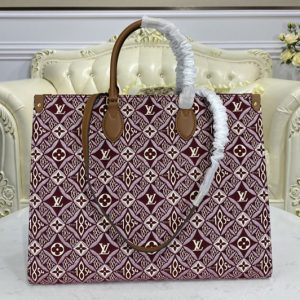 Replica Louis Vuitton M57185 LV Since 1854 Onthego GM tote bag in Bordeaux Red Jacquard Since 1854 textile