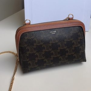 Replica Celine 10E382 clutch with chain in Brown triomphe canvas and Tan lambskin