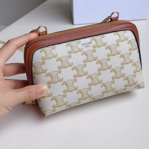 Replica Celine 10E382 clutch with chain in White triomphe canvas and Tan lambskin