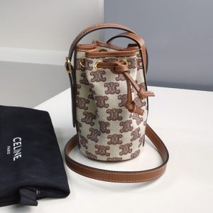 Replica Celine 10H492 Micro Drawstring Bag in textile with triomphe embroidery Vintage Brown