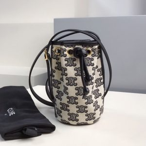 Replica Celine 10H492 Micro Drawstring Bag in textile with triomphe embroidery Vintage Black