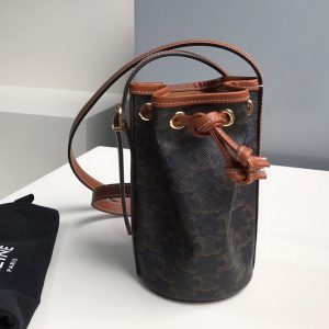 Replica Celine 10H492 Micro Drawstring Bag in textile with triomphe embroidery Brown