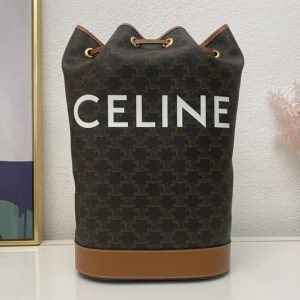 Replica Celine 191532 Medium Sailor bag in triomphe canvas with celine print tan calfskin