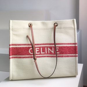 Replica Celine 192172 Squared cabas celine in plein soleil textile and calfskin Tan/Red